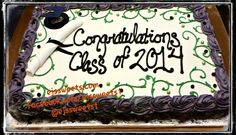 Here's one from a December graduation. Congratulations to all the graduates in the class of 2014! This is a full sheet cake, frosted with butter cream frosting,  decorated with butter cream rosettes, butter cream scrolls, a fondant diploma, non edible graduation cap, and edible pearls.  #ejssweets #cakesinmcdonough #customcakes #fullsheetcake #buttercreamfrosting #rosettecake #rosettes #graduationcakes #graduation #dipolma