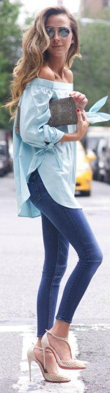 #popular #street #style #outfits #spring #2016 | Off Shoulder Top + Denim