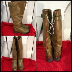 """New Mossimo Boots Brand New Tan 3-Buckle Mossimo Boots with I side Zipper & Red Zippered Back!! Perfect Condition! Man Made Materials! 17"""" High, 2"""" Heel, 16"""" Circumference Mossimo Supply Co. Shoes Heeled Boots"""