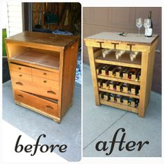 """An old dresser that I repurposed into an 18 bottle wine rack/ wet bar. Everyone's """"junk"""" has potential!"""
