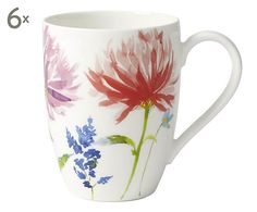 Set di 6 mug in bone china Anmut Flowers, 350 ml