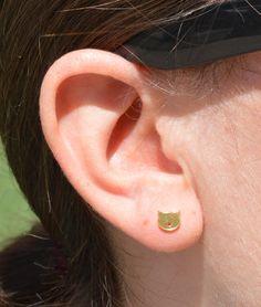 Cat Stud Earrings, Gold Cat Earrings, Nano Ceramic Stud Earrings, Simple Earrings, Halloween Gift, Kitty Earrings, Cat Jewelry, Halloween by Alaridesign