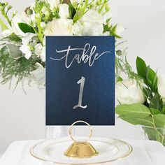 Navy Blue and Silver Foil Table Numbers Handmade Wedding