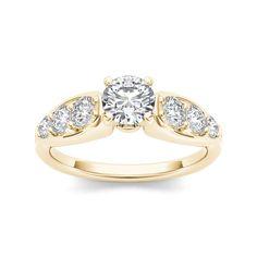 De Couer 14k Yellow Gold 3/4ct TDW Diamond Engagement Ring (H-I, I1-I2) (9.25), Women's