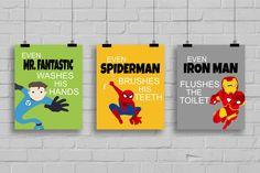 "Superhero Bathroom Decor - ""Even Spiderman Brushes His Teeth"" Comic Book Print, Pop Art Print -Batman-Spiderman, Set of 3 Prints by SimplyLoveCreations on Etsy https://www.etsy.com/listing/204440742/superhero-bathroom-decor-even-spiderman"