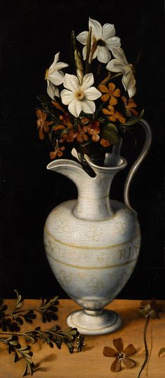 Ludger tom Ring the Younger, Narcissi, Periwinkle and Violets in a Ewer, c. 1562. On view in the Mauritshuis, The Hague