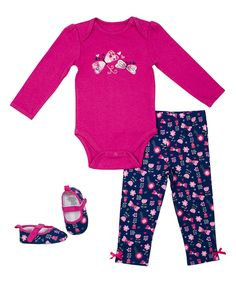 Look at this Berry Butterfly Bodysuit Set - Infant on #zulily today!
