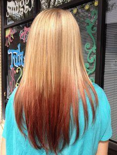 Reverse ombré by ugg-off, via Flickr. Blonde to brown-red ombré.
