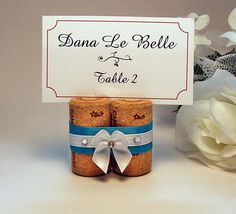 10- Wine Cork Placecard Holders with Satin Ribbon- Great for Weddings or any special event.