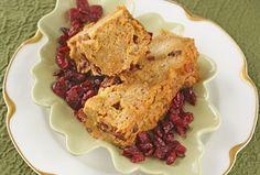 Pumpkin Cranberry Bread Pudding (can be gluten free). also good as a dessert