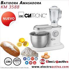¡¡Ideal para preparar todo tipo de repostería!! Batidora Amasadora+vaso CLATRONIC KM 3588 http://www.electroactiva.com/clatronic-batidora-amasadora-vaso-km3588.html #Elmejorprecio #Batidora #Amasadora #Electrodomesticos #PymesUnidas