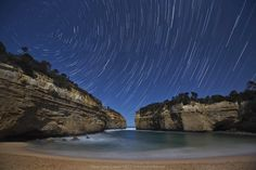 Star Trails over Lochard Gorge on Great Ocean road, Australia.