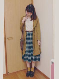 コート スタジオクリップ シャツ w closet// スカート 古着// カバン LEPSIM// 靴 HARUTA//