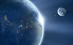 Download wallpapers Earth, space, Month, Earth satellite, stars, Solar system, 4k
