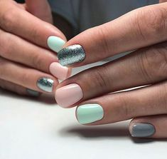 dual color short nails with glitter  inspiring ladies