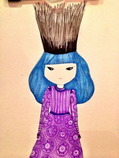 Purple princess with a crown of twigs
