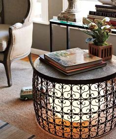 Love this airy table with a globe lamp set inside. I'm sure you can find less expensive versions then the ones listed. Or even thrift shop or garage sale finds. Be creative.