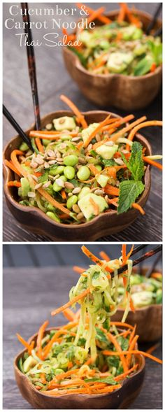 This cucumber & carrot noodle Thai salad will knock your socks off! (vegan + gluten free)take out edamame to make soy free Raw Food Recipes, Asian Recipes, Vegetarian Recipes, Cooking Recipes, Healthy Recipes, Thai Salads, Healthy Salads, Healthy Eating, Carrot Noodles