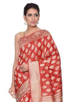 Red Kadhwa banarasi booti Saree with sona rupa zari