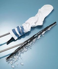 Cover Wiper Blades w/ kneehigh socks b4 storm=20 Winter Survival Hacks to Get You Through the Colder Months   thegoodstuff