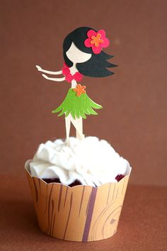 Hula Girl Cupcake Topper Set of 3 by PaperPartyParade on Etsy, $2.50