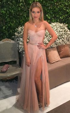 prom dresses sexy strapless prom dresses, pink party dresses with appliques beading, cheap split evening gowns Prom Dresses Under 100, Cheap Formal Dresses, Strapless Prom Dresses, Prom Dresses Long With Sleeves, Formal Evening Dresses, Evening Gowns, Chiffon Dresses, Evening Party, Stylish Dresses