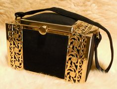 Heidi Wanted This Art Deco Midnight Navy Tyrolean Reticulated Brass And Suede Vanity Box Purse, c. 1940. $108.00, via Etsy.