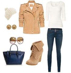 Jacket: dark blue bag beige ancle boots