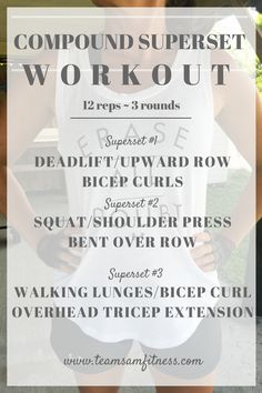 Compound exercises are beneficial in increasing your workout efficiency, and burning more calories and fat! Try this Compound Superset Workout http://www.teamsamfitness.com/2016/10/13/compound-superset-workout/