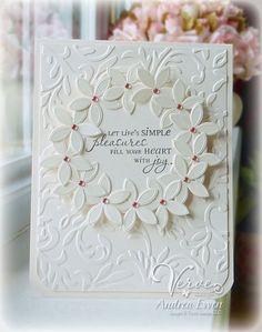"Classy Creamy White ""Pleasures"" Card...Andrea Ewen."