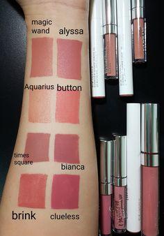 Colourpop swatches : magic wand (USL) Aquarius (lippie stix) Times square (UML) Brink (lippie stix) Alyssa (USL) Button (lippie stix) Bianca (UML) Clueless (UML)