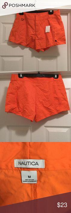 "Women's Swim Cover Up Shorts Beautiful ""melon"" color swim bottom cover up. 100% nylon. Velcro opening for the zipper, brand new never worn. Nautica Swim Coverups"