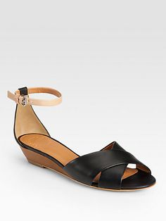 Marc by Marc Jacobs - Two-Tone Leather Wedge Sandals - Saks.com