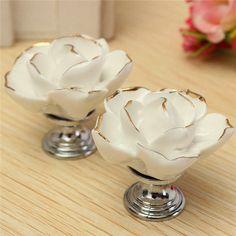 New Arrival Elegant Style White Vintage Rose Flower Bud Gold Lace Ceramic Door Cabinet Cupboard Drawer Knob Pull Handle