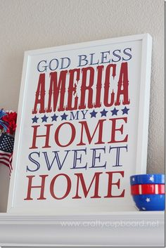 God Bless America Free Printable by the Crafty Cupboard | 4th of July Printable