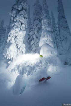 John Holman skiing the POW POW by Geoff Holman