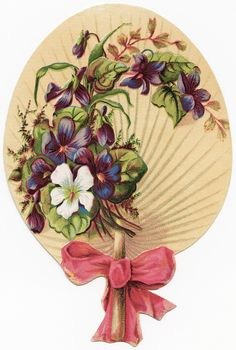 This pretty Victorian fan shaped trading card clipart is free for you to download. Click on image to enlarge.