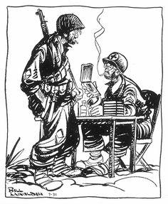 WORLD WAR II: CARTOON. 'Just gimme a coupla aspirin. I already got a Purple Heart.' Cartoon by Bill Mauldin from 'Stars & Stripes.'