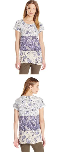 LUCKY BRAND WOMEN'S MIXED PRINT SHIRT--------- Colors Available: Micro Chip------ 60% Cotton, 40% Modal------ Short-sleeve top in mixed nature prints featuring crew neckline and exposed back zipper Cool,Cute, Basic T Shirts Suitable for Casual and Party Wears in Summer/Spring 2016  ------Great for Gifts------