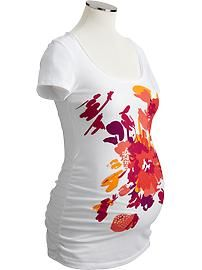 Maternity Floral Graphic Tees