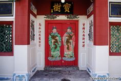 traditional red painted doors, China