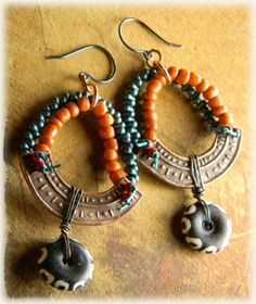 Tribal Ethnic Copper Earrings Carved Bone Handmade by ChrysalisToo, $47.00 #kristibowmandesign