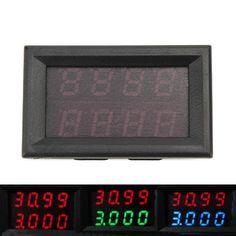 RUIDENG 0-33V 0-3A Medidor de corrente de tensão de quatro bits DC Double Digital LED Display Voltímetro Amperímetro