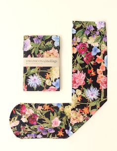 Black Floral Stocking by StrathconaStockings on Etsy, $36.64