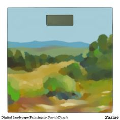 Digital Landscape Painting Scales  Also available on many more products, click the link and type in the name of this design in the search bar on my products home page to see them all!  #landscape #plein #air #impressionism #digital #painting #paint #green #yellow #blue #sky #sun #shine #field #tree #mountain #air #air #nice #clean #crisp #cool #sooth #soothing #relax #calm #peace #peaceful #horizon #perspective #atmosphere #distance #home #decor #weigh #weight #scales #bathroom
