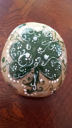 Hand painted shamrock stone/ pearl embellishments/ hand painted rock/ St. Patrick's Day/ Spring