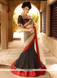 Dazzling Black And Cream Printed Lehenga Saree
