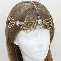 "Bohemian Draped Round Head Chain • Style No : [223185] • Color : Gold, Clear  • Size : 1 1/2"" H, 20"" + 4"" L • Bohemian Draped Round Crystal Head Chain Accessories Hair Accessories"