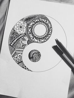Image via We Heart It https://weheartit.com/entry/117078902/via/890681 #blackandwhite #feather #flowers #life #pencil #yinyang #yingyang #nightandday #badandgood #devilandangel