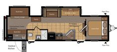 Keystone Hornet with outdoor kitchen, outside entrance to bathroom, two bunks with futon couch.